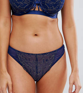 Wolfwhistle Wolf & Whistle Navy and Gold High Leg Thong
