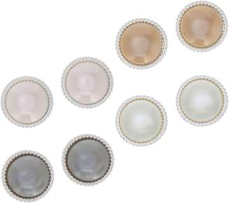 Joan Rivers Classics Collection Joan Rivers Set of 4 Clip or Pierced Faux Pearl Button Earrings
