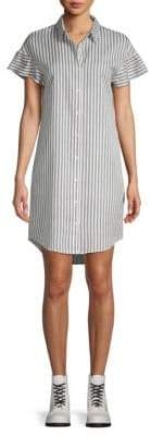 Saks Fifth Avenue BLACK Stripe-Print Ruffle-Sleeve Shirtdress