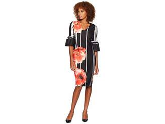 ECI Ruffle Sleeve V-Neck Floral Placed Scuba Crepe Dress Women's Dress