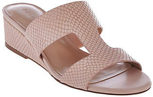 Halston H by Cut-out Leather Sandals with MiniWedge - Regan