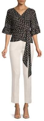 Max Studio Floral Print Wrap Tie-Front Blouse