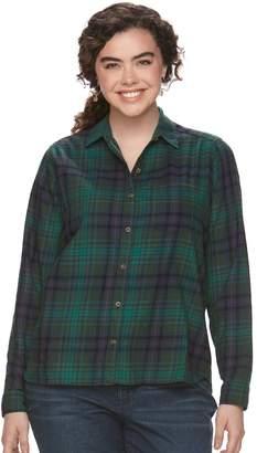 So Juniors' Plus Size SO Pocket Plaid Flannel Shirt