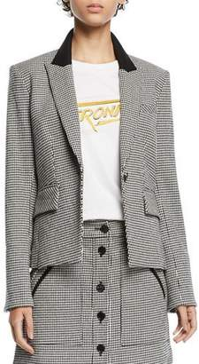 Veronica Beard Airlie Houndstooth Peplum Dickey Jacket