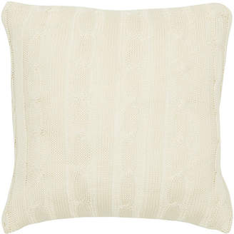 """Rizzy Home White 18"""" X 18"""" Cable Knit Pillow Cover"""