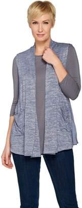 Logo By Lori Goldstein LOGO by Lori Goldstein Space Dye Knit Vest with Satin Trim