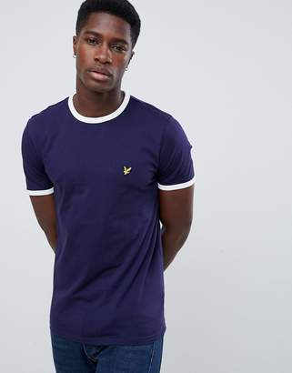 Lyle & Scott logo ringer t-shirt in navy