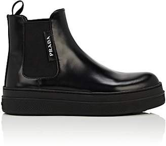 Prada Women's Leather Platform Ankle Boots - Nero
