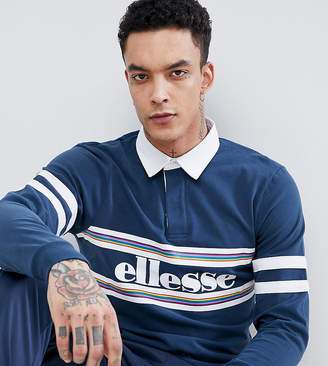 Ellesse Long Sleeve Polo Shirt With Logo Panel In Navy