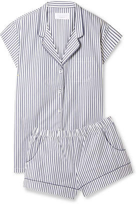 Three J NYC Olivia Striped Cotton-poplin Pajama Set - White