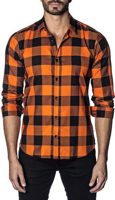 Jared Lang Men's Semi-Fitted Buffalo Check Print Sport Shirt, Orange
