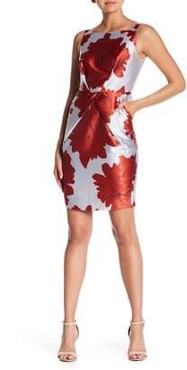 Alton Gray Gathered Satin Floral Bodycon Dress
