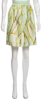 Isaac Mizrahi Metallic Knee-Length Skirt Mint Metallic Knee-Length Skirt