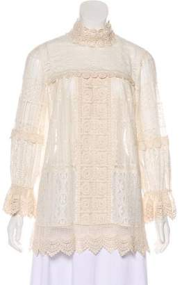 Anna Sui Lace Long Sleeve Top