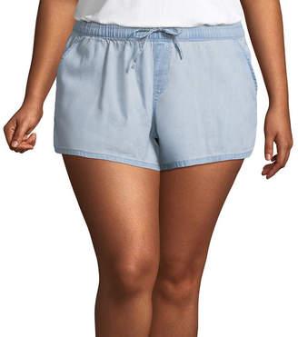 Arizona Chambray Soft Shorts-Juniors Plus