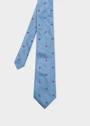 Paul Smith Men's Light Blue Embroidered Cherries Silk Tie