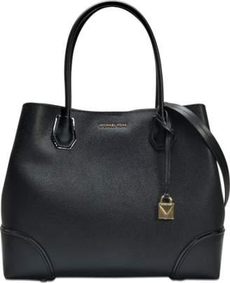MICHAEL Michael Kors Mercer Gallery Large Leather Satchel Bag in Black Pebbled Leather