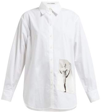 Acne Studios Carolyn Brown Print Cotton Poplin Shirt - Womens - White