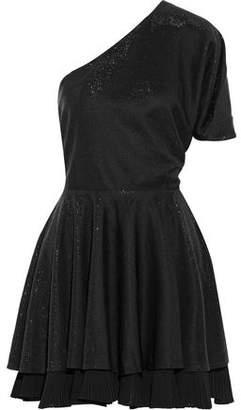 Just Cavalli One-Shoulder Chiffon-Trimmed Cutout Metallic Jersey Mini Dress