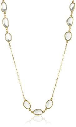 Gold Over Sterling Silver Prasiolite Bezel Stations Necklace