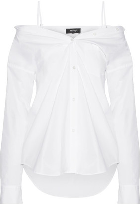 Theory - Tamalee Off-the-shoulder Cotton-poplin Shirt - White $265 thestylecure.com