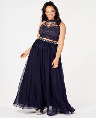 Sequin Hearts Trendy Plus Size 2-Pc. Glitter Crochet Gown