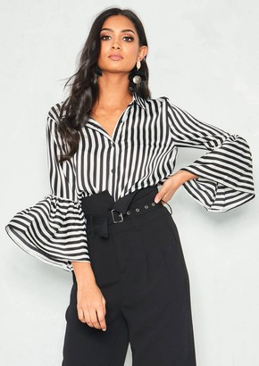 9a2b0ed78859c5 Missy Empire Missyempire Caggie Black Stripe Bell Sleeve Shirt