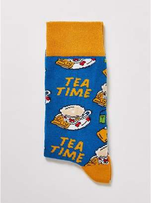 Topman Mens Blue 'Tourist Tea Time' Socks