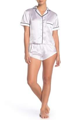FRENCH AFFAIR Satin Short Sleeve Shirt & Shorts Pajama Set