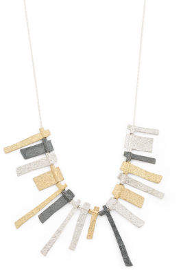 Made In Israel Tri Tone Sterling Silver Stick Necklace
