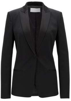 BOSS Hugo Regular-fit blazer satin collar & lapels 4 Black
