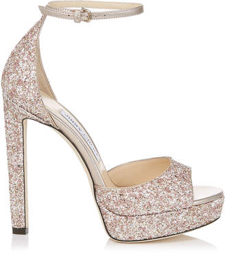 Jimmy Choo PATTIE 130 Rosewood Painted Glitter Fabric Open Toe Platform Sandals