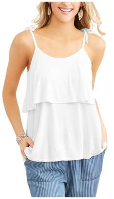 Time and Tru Women's Solid Color Tiered Tie Shoulder Tank