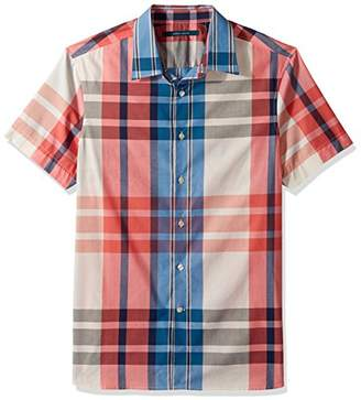 Perry Ellis Men's Short Sleeve Exploded Plaid Shirt