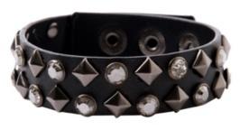 Black Hematite Pyramid Stud Crystal Gem Wristband