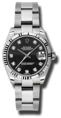 Rolex Datejust Steel and White Gold Black Jubilee Diamond Dial 31mm Watch