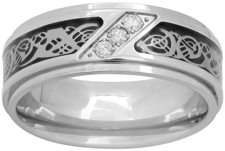 Celtic Sheepskin1/10 Carat T.W. Diamond Stainless Steel & Carbon Fiber Celtic Dragon Band - Men