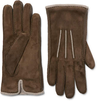 Loro Piana Damon Baby Cashmere-Lined Suede Gloves - Men - Brown