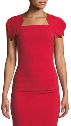 Roland Mouret Darfield Square-Neck Folded Sleeve Blouse