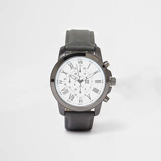 River Island Grey leather look strap round face watch