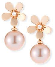Belpearl 18k Diamond Daisy Pearl Drop Earrings, Rose Gold