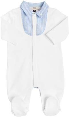 Armani Junior Cotton Jersey & Striped Linen Romper