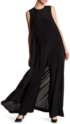 DKNY Sleeveless Wide Leg Side Cape Silk Blend Jumpsuit $595 thestylecure.com