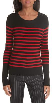 Frame Button Shoulder Stripe Merino Wool Sweater