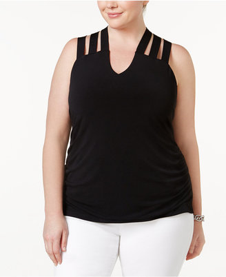 Inc International Concepts Plus Size Lattice-Back Tank, Created for Macy's $59.50 thestylecure.com