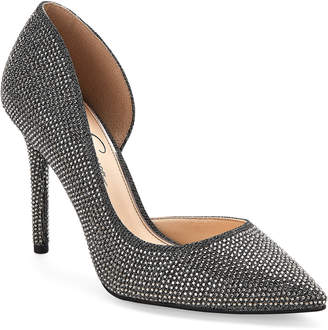 Jessica Simpson Pewter Lucina d'Orsay Pointed Toe Pumps
