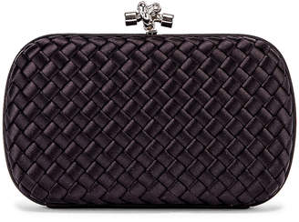 Bottega Veneta Woven Satin Crossbody Bag in Black & Silver | FWRD