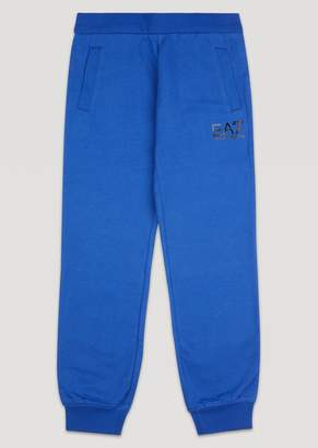 Emporio Armani Boys Cotton Joggers With Ea7 Logo