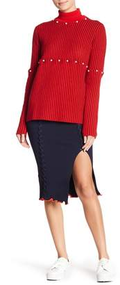 Opening Ceremony Lace-Up Ribbed Knit Pencil Skirt