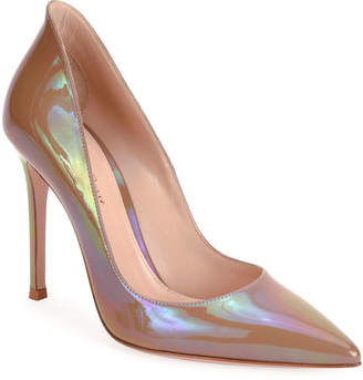 Gianvito Rossi Pointed-Toe Oil Patent High-Back Pumps